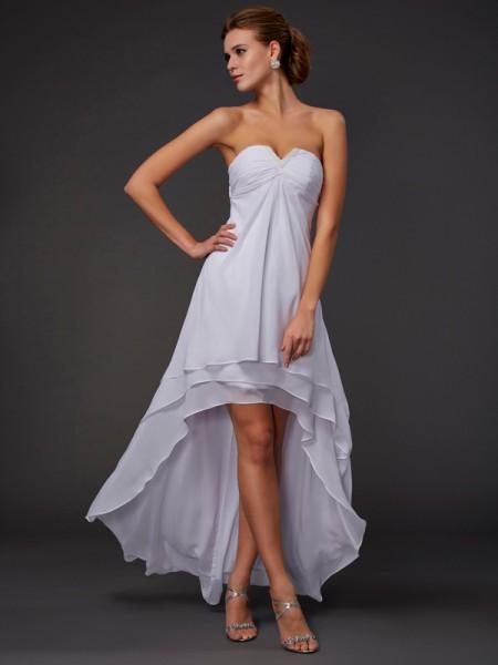 Princesa/Formato A Coração Sem Mangas Folhos Alto-Baixo Chiffon Vestidos