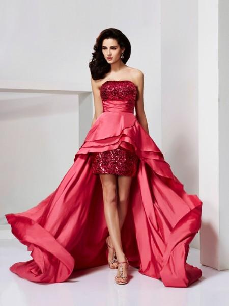 Princesa/Formato A Sem Alça Sem Mangas Renda Alto-Baixo Tafetá Vestidos