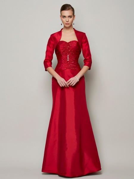 Princesa/Formato A Coração Sem Mangas Missangas Longa Tafetá Vestidos