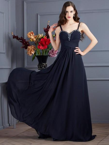 Princesa/Formato A Alças Finas Sem Mangas Missangas Longa Chiffon Vestidos