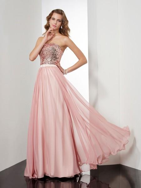 Princesa/Formato A Sem Alça Sem Mangas Lantejoula Longa Chiffon Vestidos