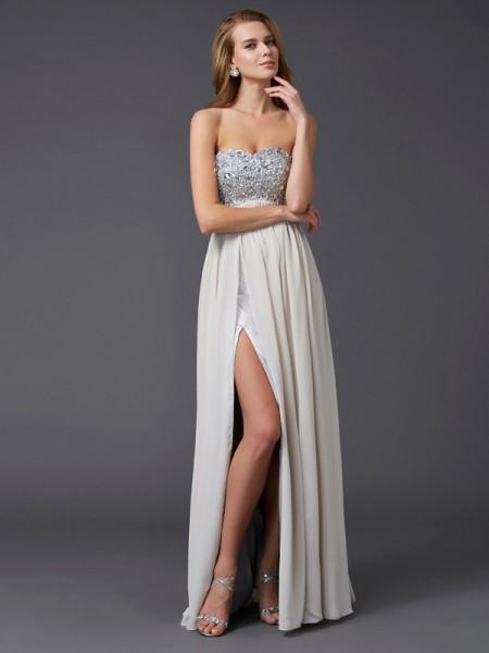 Princesa/Formato A Coração Sem Mangas Imitação de Diamante Longa Chiffon Vestidos
