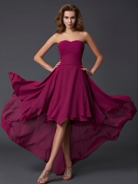 Princesa/Formato A Coração Sem Mangas Plissada Alto-Baixo Chiffon Vestidos
