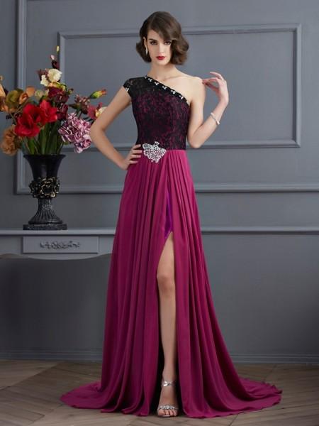 Princesa/Formato A Um Ombro Sem Mangas Renda Longa Chiffon Vestidos