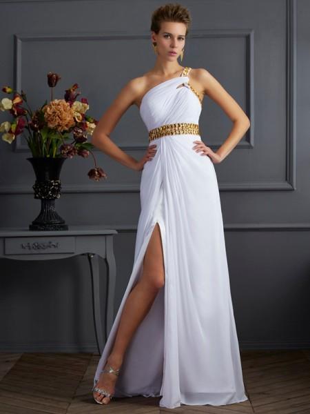 Princesa/Formato A Um Ombro Sem Mangas Missangas Longa Chiffon Vestidos