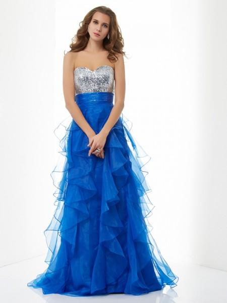 Princesa/Formato A Coração Sem Mangas Lantejoula Longa Cetim Vestidos