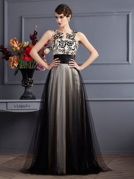 Princesa/Formato A Decote e costas em U Sem Mangas Longa Malha Vestidos