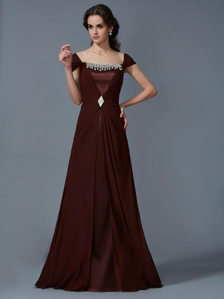 Princesa/Formato A Sem Alça Manga Curta Longa Chiffon Vestidos
