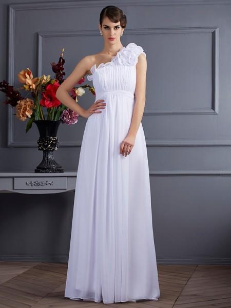 Princesa/Formato A Um Ombro Sem Mangas Plissada Appliques Longa Chiffon Vestidos