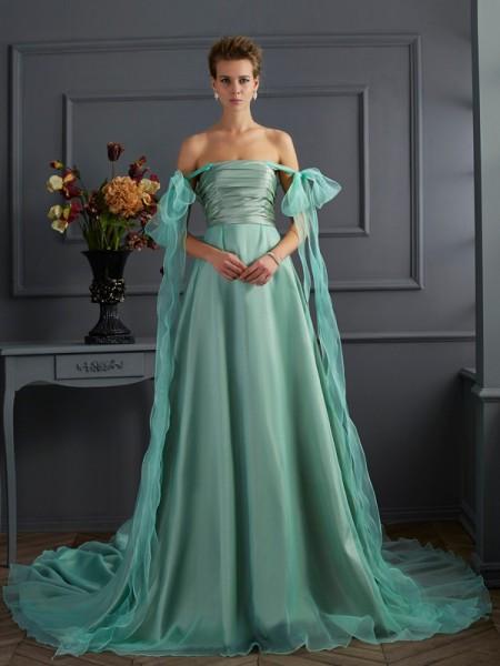 Princesa/Formato A Off the Shoulder Sem Mangas Longa Tafetá Vestidos