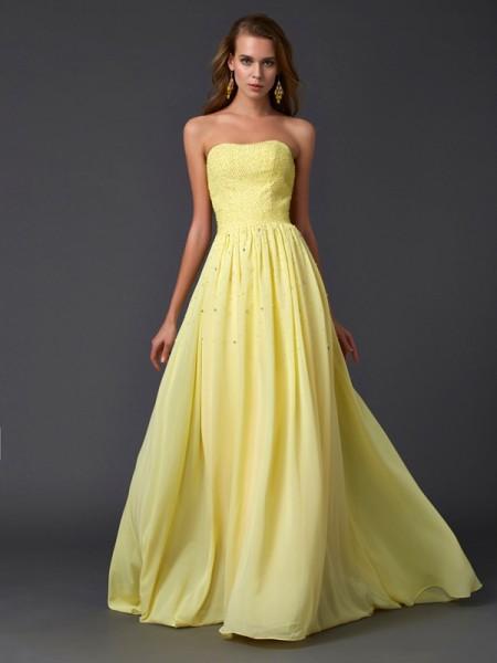 Princesa/Formato A Sem Alça Sem Mangas Plissada Longa Chiffon Vestidos