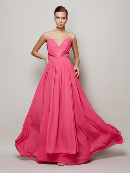 Princesa/Formato A Coração Sem Mangas Plissada Longa Chiffon Vestidos