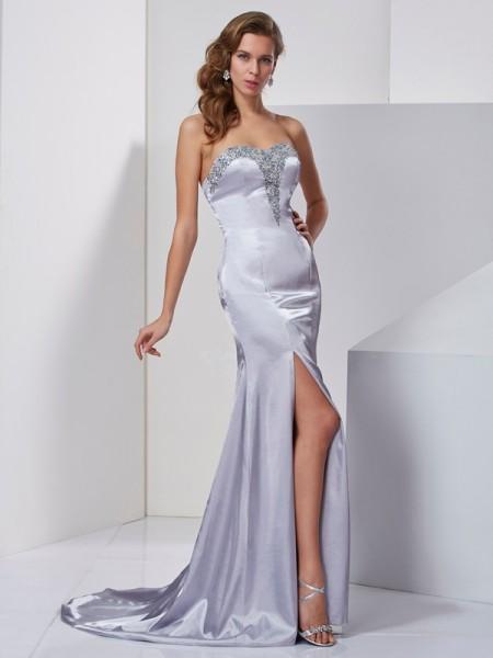 Princesa/Formato A Coração Sem Mangas Missangas Longa Cetim Esticado Vestidos
