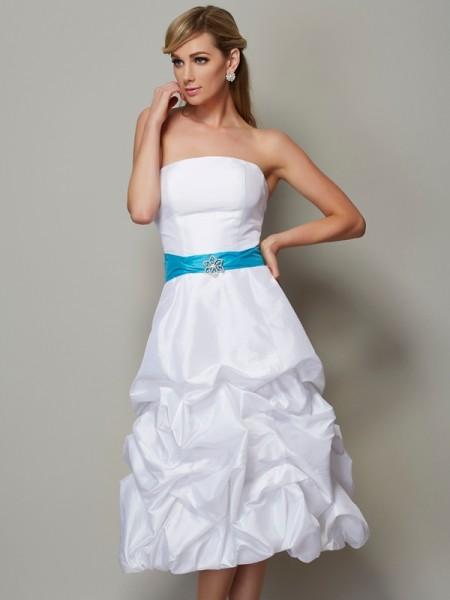 Princesa/Formato A Sem Alça Sem Mangas Curtos Tafetá Vestidos de Madrinhas