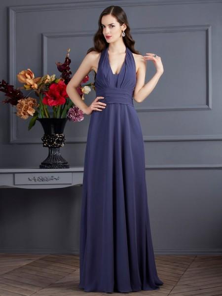 Princesa/Formato A Halter Sem Mangas Plissada Longa Chiffon Vestidos