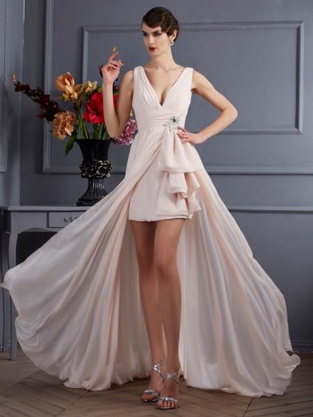 Princesa/Formato A Alças Sem Mangas Missangas Longa Chiffon Vestidos