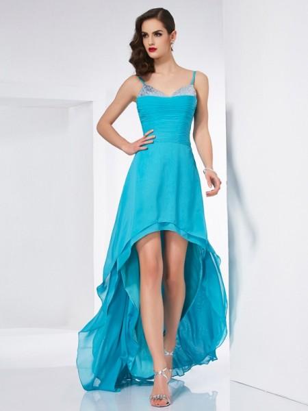 Princesa/Formato A Alças Finas Sem Mangas Alto-Baixo Chiffon Vestidos