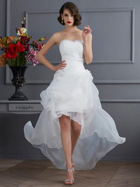 Princesa/Formato A Coração Sem Mangas Missangas Alto-Baixo Organza Vestidos de Noiva