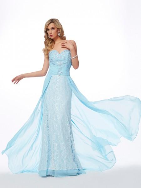 Princesa/Formato A Coração Sem Mangas Longa Missangas Chiffon Vestidos