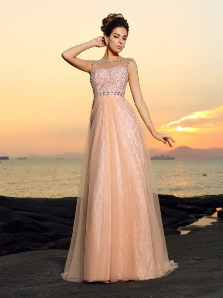 Princesa/Formato A Vestido bateau Renda Sem Mangas Longa Chiffon Vestidos