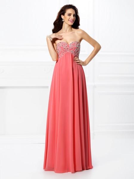 Princesa/Formato A Coração Missangas Sem Mangas Longa Chiffon Vestidos