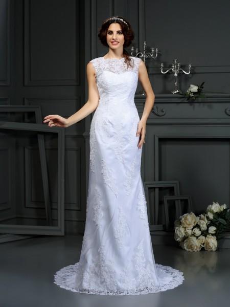 Bainha/Coluna Com gola alta Renda Sem Mangas Longa Renda Vestidos de Noiva
