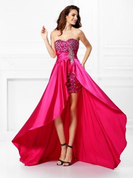 Princesa/Formato A Coração Missangas Sem Mangas Alto-Baixo Cetim Esticado Vestidos