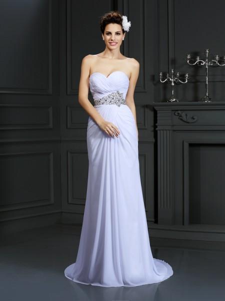 Bainha/Coluna Coração Missangas Sem Mangas Longa Chiffon Vestidos de Noiva