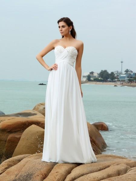 Princesa/Formato A Coração Missangas Sem Mangas Longa Chiffon Beach Vestidos de Noiva