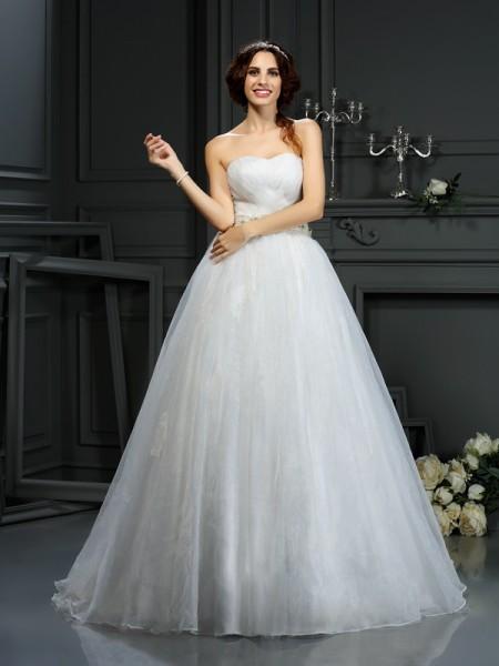 Princesa/Formato A Coração Appliques Sem Mangas Longa Organza Vestidos de Noiva