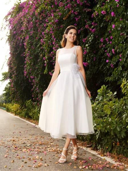 Princesa/Formato A Vestido bateau Cinturão/Fitas Sem Mangas Longa Cetim Vestidos de Noiva