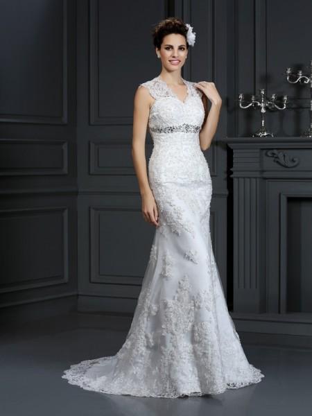 Bainha/Coluna Decote em V Missangas Sem Mangas Longa Renda Vestidos de Noiva