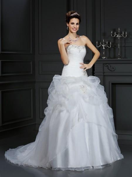 De Baile Sem Alça Missangas Sem Mangas Longa Organza Vestidos de Noiva