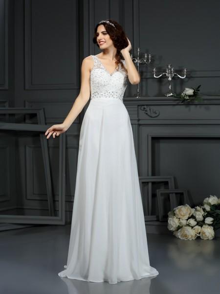 Princesa/Formato A Decote em V Renda Sem Mangas Longa Chiffon Vestidos de Noiva