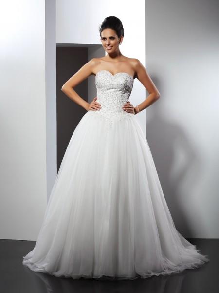 Princesa/Formato A Coração Appliques Sem Mangas Longa Malha Vestidos de Noiva