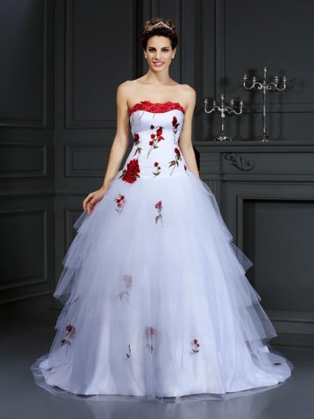 De Baile Sem Alça Flores Feitas à Mão Sem Mangas Longa Cetim Vestidos de Noiva