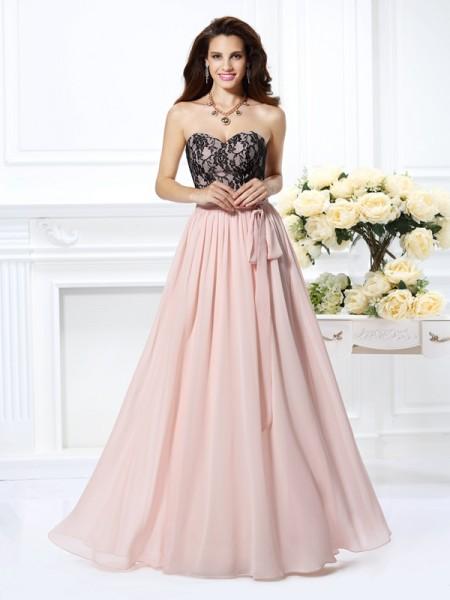 Princesa/Formato A Coração Renda Sem Mangas Longa Chiffon Vestidos