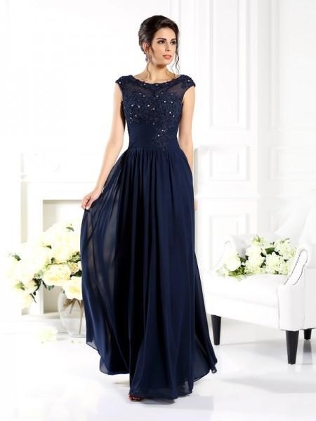 Princesa/Formato A Decote e costas em U Missangas Sem Mangas Longa Chiffon Vestidos Mãe da Noiva