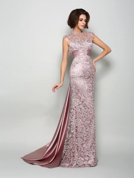 Princesa/Formato A Com gola alta Sem Mangas Longa Cetim Esticado Vestidos Mãe da Noiva