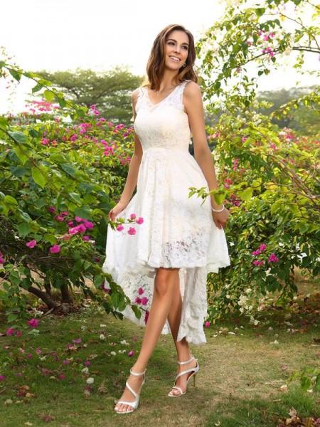 Princesa/Formato A Decote em V Renda Sem Mangas Alto-Baixo Renda Vestidos de Madrinhas