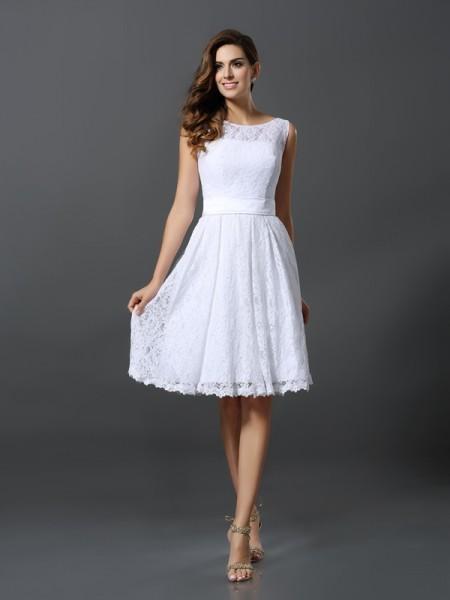 Princesa/Formato A Decote e costas em U Sem Mangas Curtos Renda Vestidos de Madrinhas
