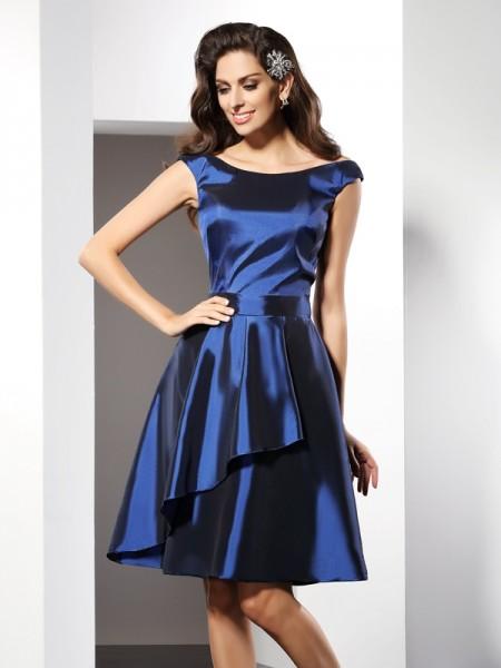 Princesa/Formato A Decote e costas em U Sem Mangas Curtos Tafetá Vestidos de Madrinhas