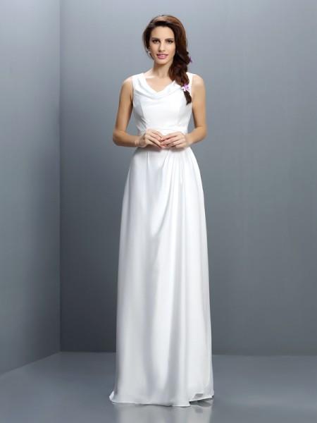Bainha/Coluna Decote em V Sem Mangas Longa Chiffon Vestidos de Madrinhas