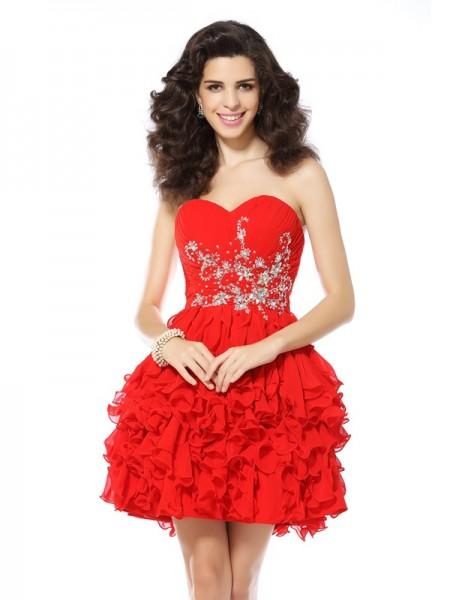 Princesa/Formato A Coração Missangas Sem Mangas Curtos Chiffon Vestidos de Coquetel