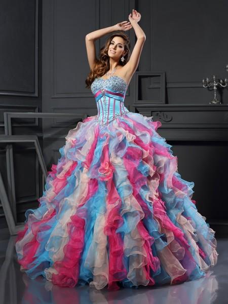 De Baile Coração Missangas Sem Mangas Longa Organza Vestidos de Quinceanera