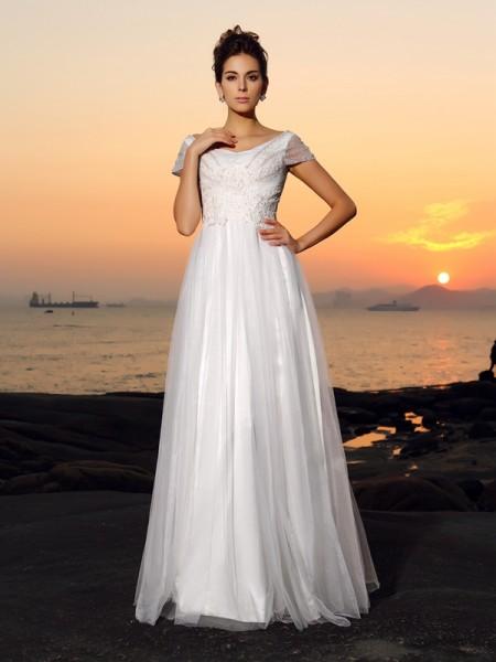 Princesa/Formato A Ombro a Ombro Missangas Manga Curta Longa Tule Beach Vestidos de Noiva