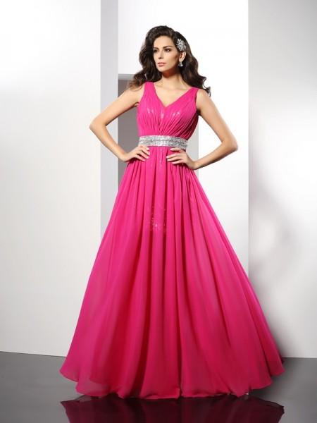 Princesa/Formato A Decote em V Lantejoula Sem Mangas Longa Chiffon Vestidos