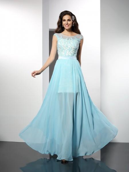 Princesa/Formato A Vestido bateau Appliques Sem Mangas Longa Chiffon Vestidos