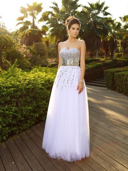 Princesa/Formato A Coração Missangas Sem Mangas Longa Organza Vestidos