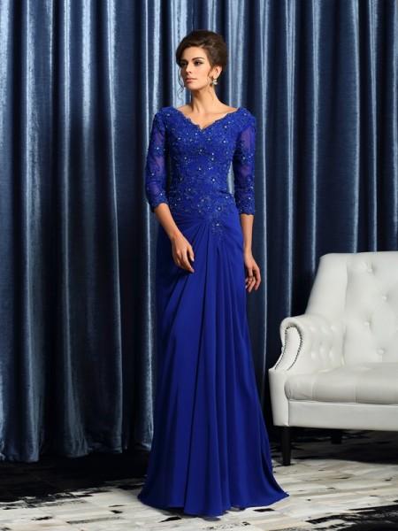 Princesa/Formato A Decote em V Appliques Luva de Comprimento de 3/4 Longa Chiffon Vestidos Mãe da Noiva